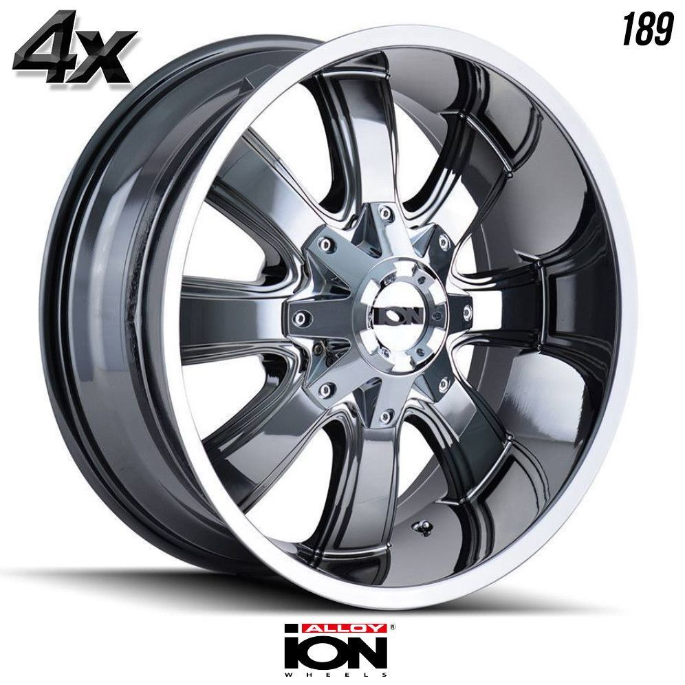4 Ion 189 17 X9 5x127 Chrome Ofst 12mm 17inch Rims 17x9 Wheels Llantas