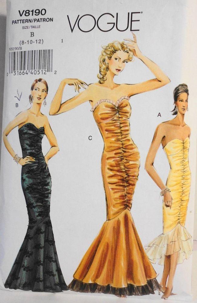 Vogue Gown Pattern Flounce Evening Mermaid Dress Sewing V8190 Strapless Sz 8-12 #VoguePatterns