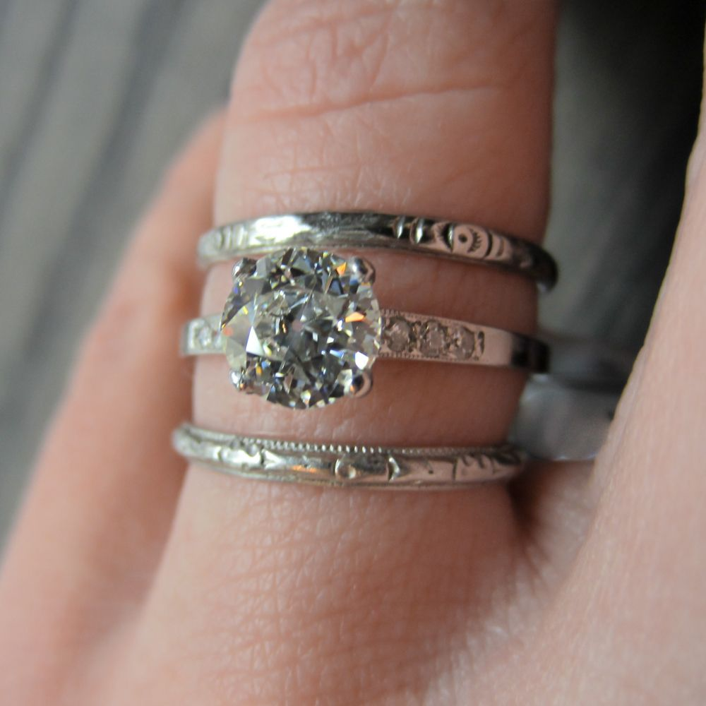 Delicate Vintage Diamond Engagement Ring Stacked With Wedding Bands All From Doyle: Delicate Vintage Wedding Rings At Websimilar.org