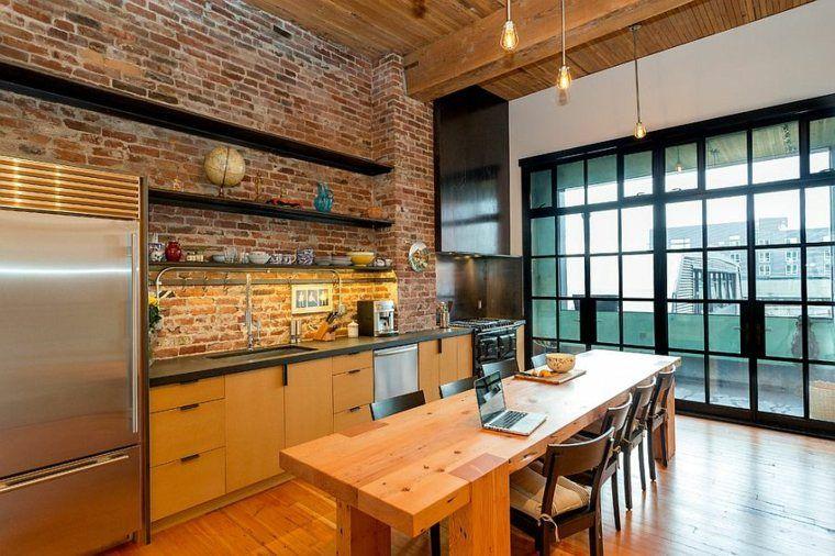 Mur briques exposées dans la cuisine: une très belle idée déco ...