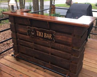 The natural pallet bar tiki bar un stained finish for Building a tiki bar from pallets