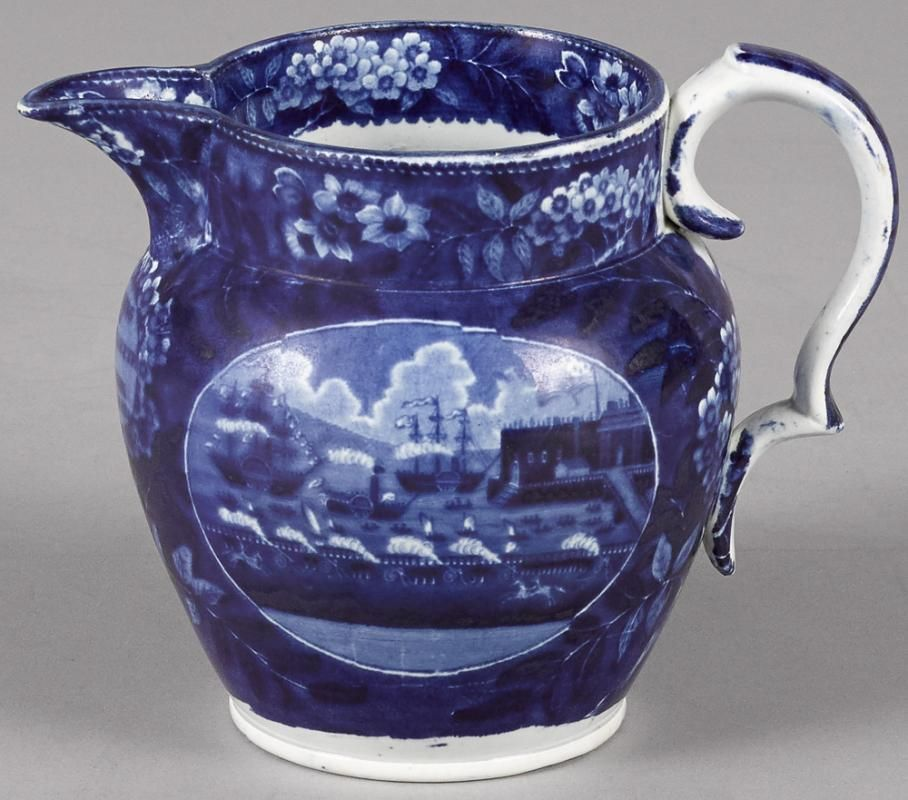 Historical blue Staffordshire Landing of Lafayette pitcher, 5 3/4'' h. - Price Estimate: $200 - $300