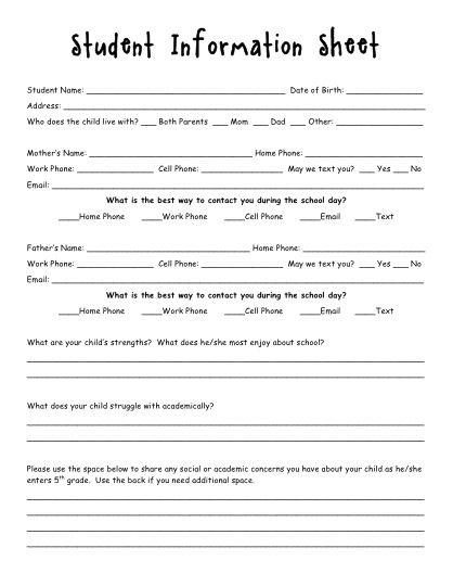 Organized Teaching Addict Back to School Letter \ Student - information form template
