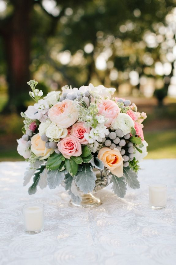 Romantic and vintage looking floral centerpiece