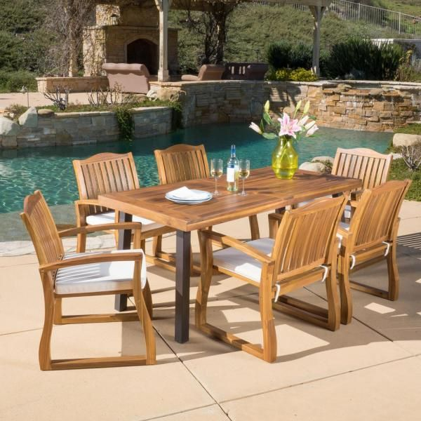 Noble House Della Teak Finish 7 Piece Wood Outdoor Dining Set 8089 The Home Depot In 2020 Teak Patio Furniture Patio Dining Set 7 Piece Dining Set