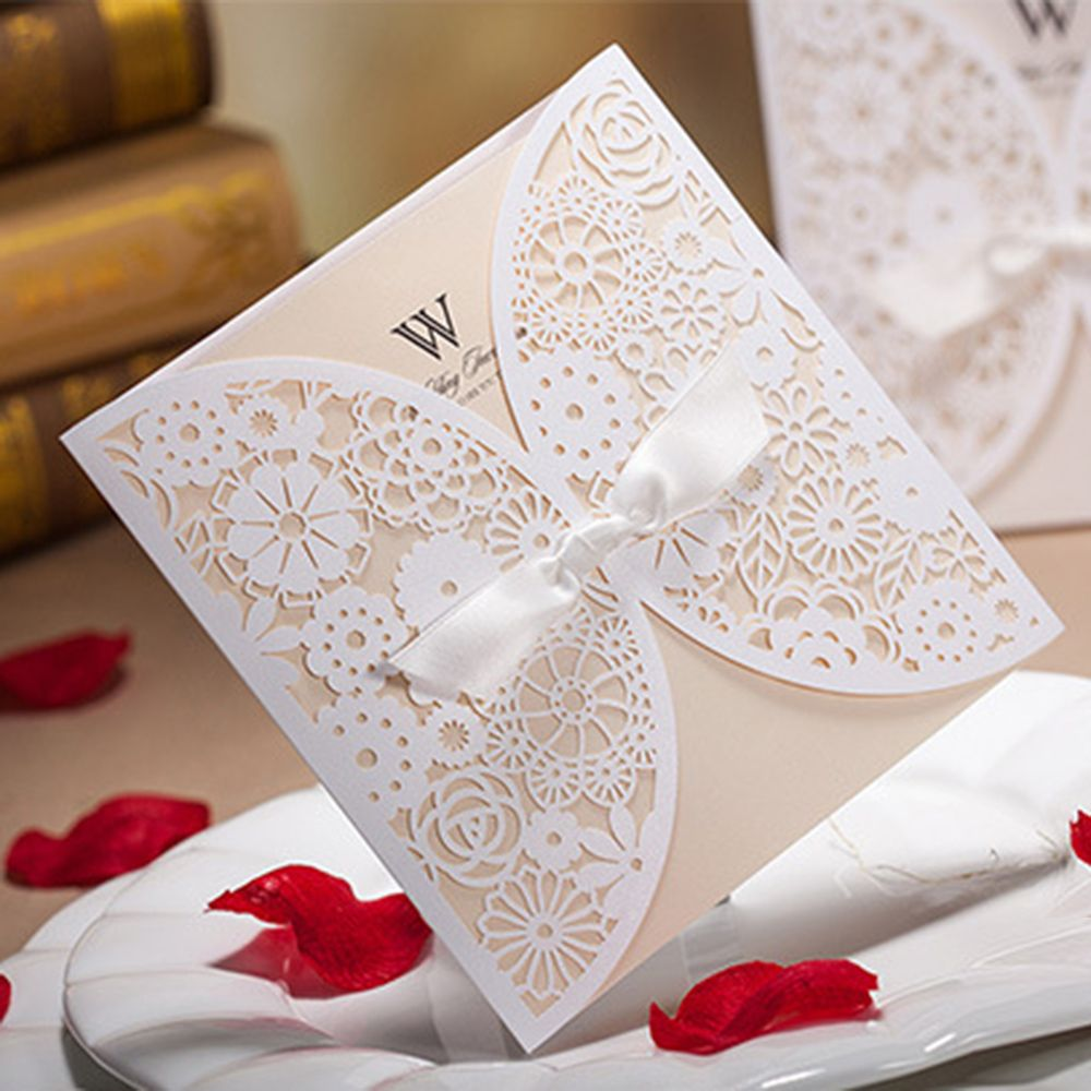 50pcs Luxury Lace Wedding Invitations Elegant Embossed White Ribbon ...
