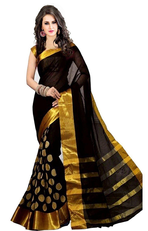 5acb00fa88 Perfectblue Cotton Silk Saree (Pb0Black Goli_Black): Amazon.in: Clothing &  Accessories