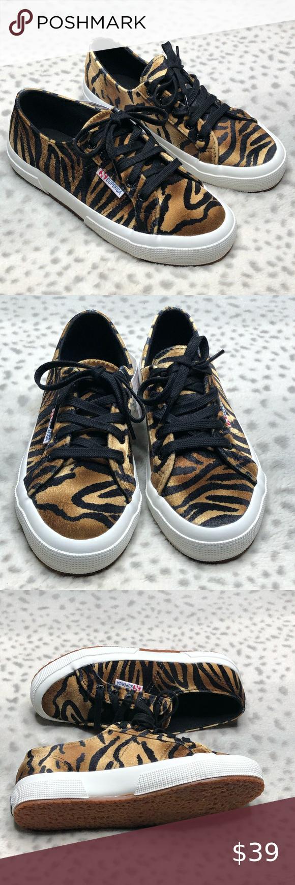 Superga 2750 Tiger Print Velour Sneaker