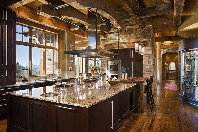 Modern Mountain Home Kitchen Design Kitchen Mountain Lodge Decor Downdraft Vent Hood