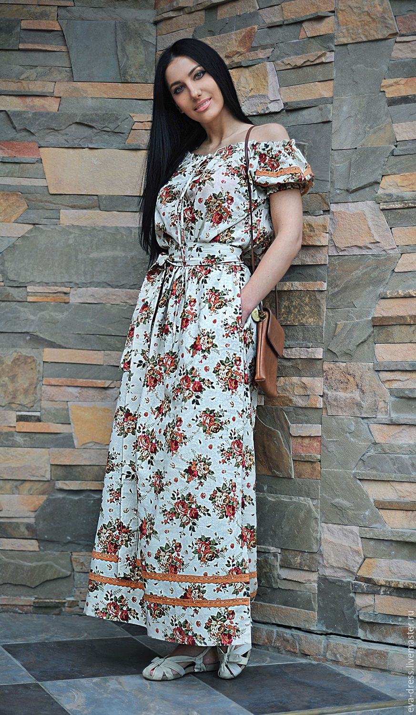 bf557ff1249 Купить или заказать Длинное льняное платье  Белое - цветочный принт  в  интернет-магазине