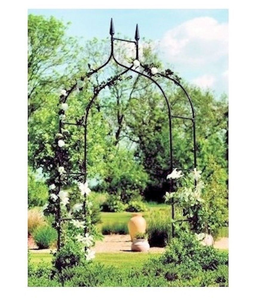 Arch trellis black yard garden patio backyard path archway arbor wedding decor gardman