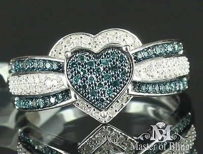 Ladies Real Blue Diamond 10k White Gold Heart Love Engagement Bridal Ring Band