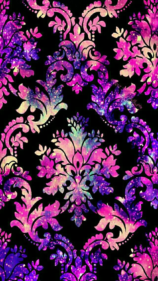Pink & Purple damask galaxy iPhone/Android wallpaper I created for the app CocoPPa.