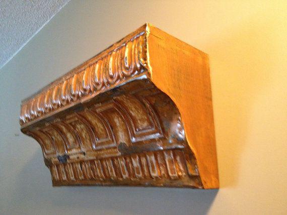 Antique Crown Molding Tin Ceiling Shelf By Naomistintreasures 75 00 Ceiling Shelves Tin Ceiling Tin Ceiling Tiles