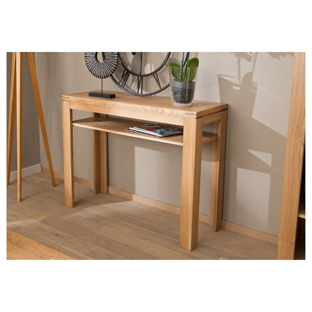 Table En Bois Chene Clair console boston - bois chêne clair massif - taille : taille