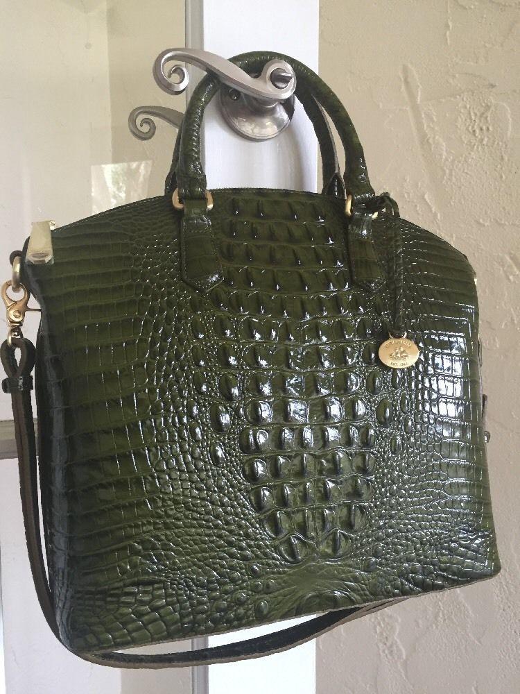Brahmin Large Duxbury Satchel Chive Green Melbourne Leather ...