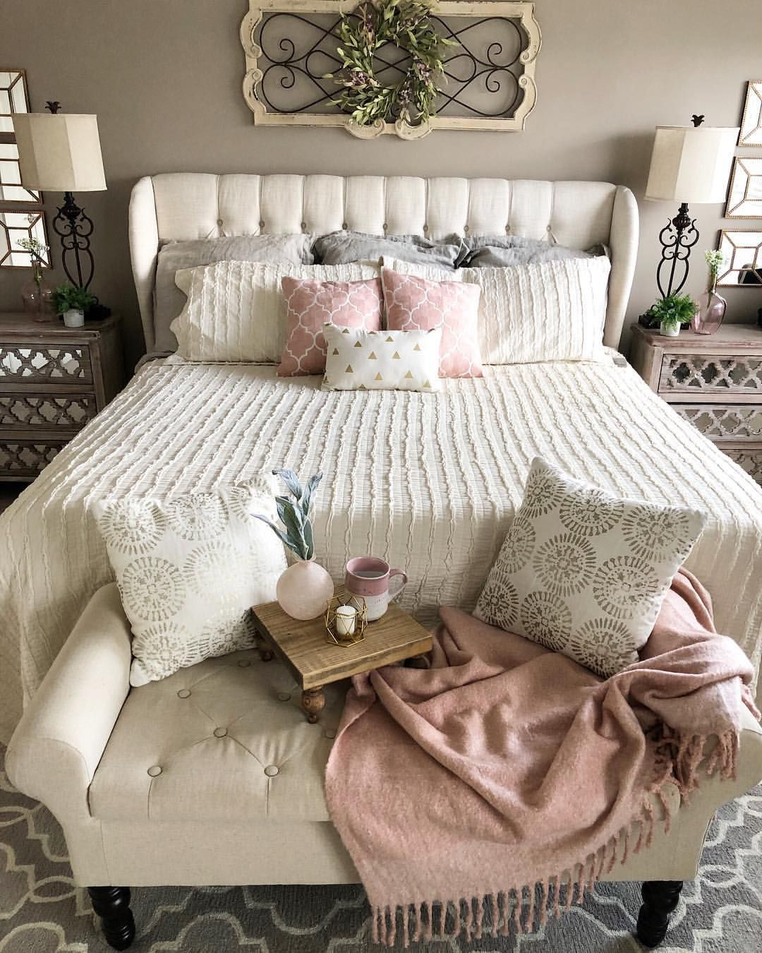 Blush Pink Accents In Master Bedroom For Spring Master Bedroom Makeover Pink Master Bedroom Bedroom Makeover