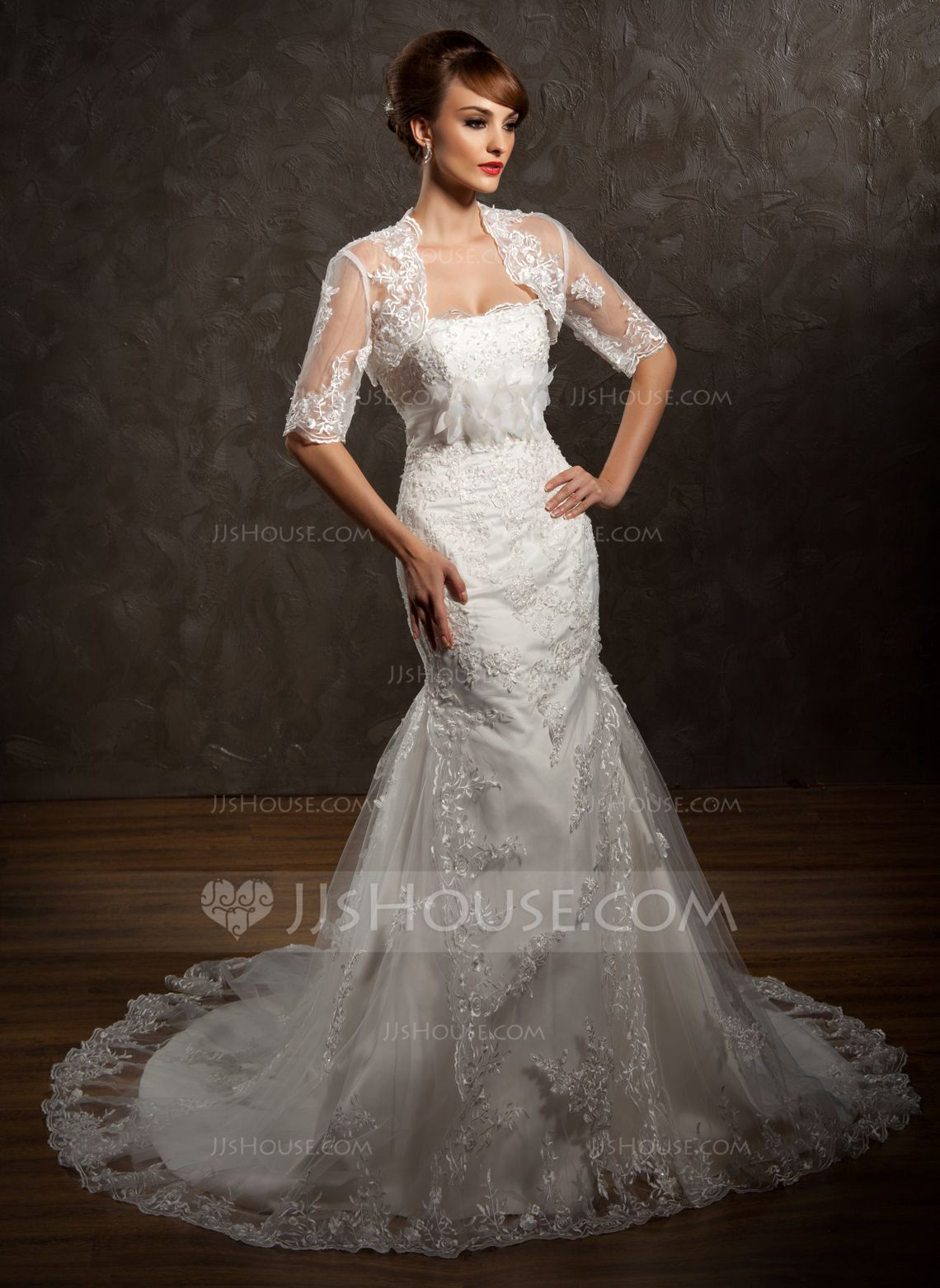 Plus size wedding reception dresses for guests  HalfSleeve Lace Wedding Wrap   JJsHouse  Wedding Gowns
