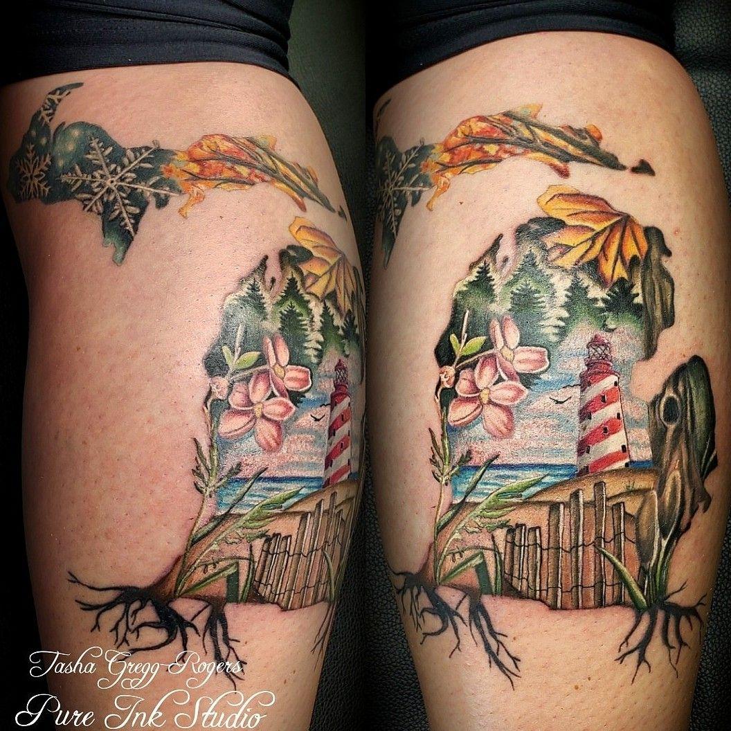 Seasons of Michigan piece I did earlier this year . . . #tattooingforjesus #tattoo #tattoos #tattooing #customtattoo #colortattoo #radtattoos #tattoolife #tattoosociety #realistictattoo #realismtattoo #tattoorealistic #besttattoos #lighthouse #flowertattoo | 1112740
