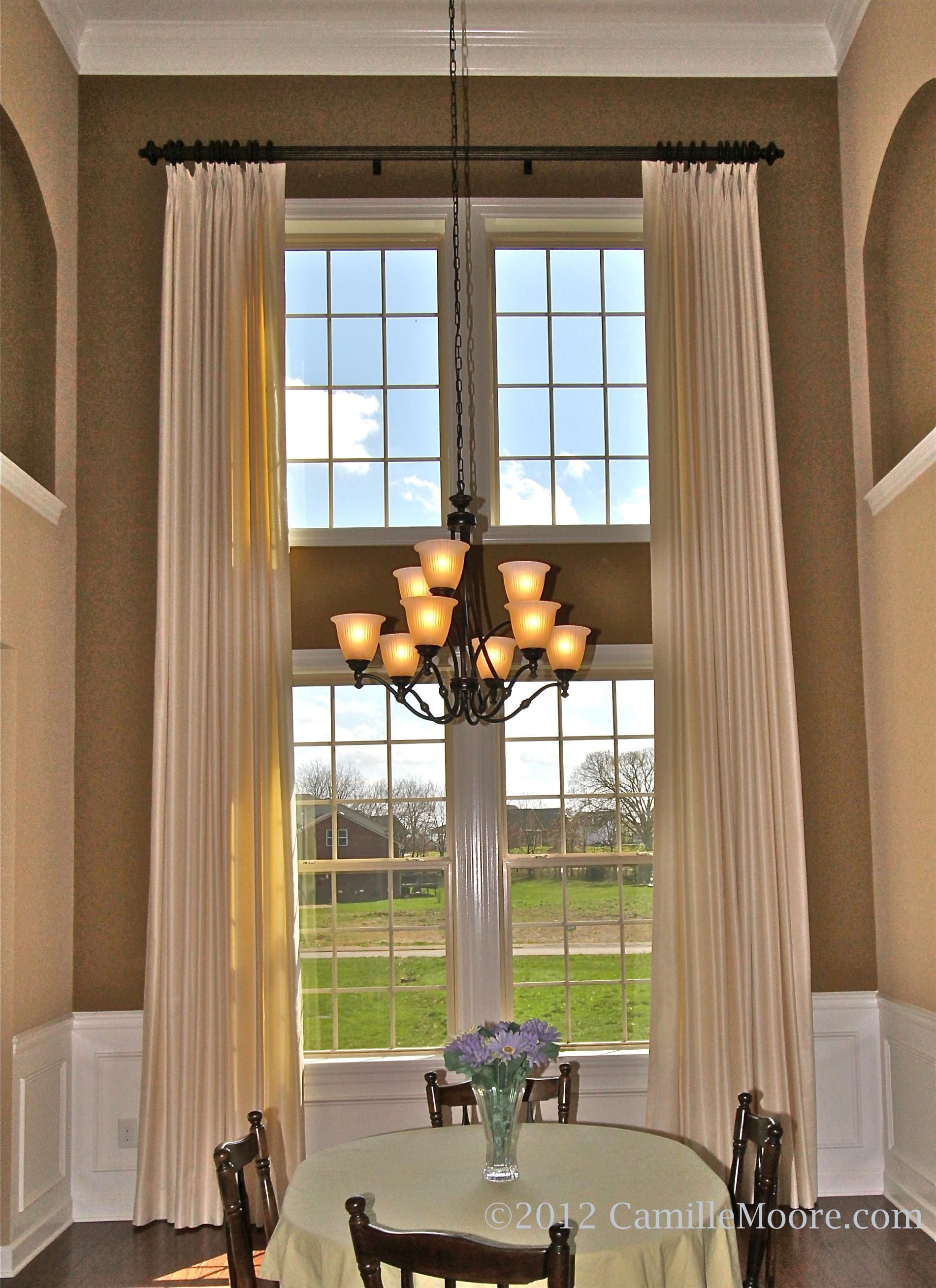 Double Story Windows Window Treatments Living Room Large Windows Living Room Living Room Drapes