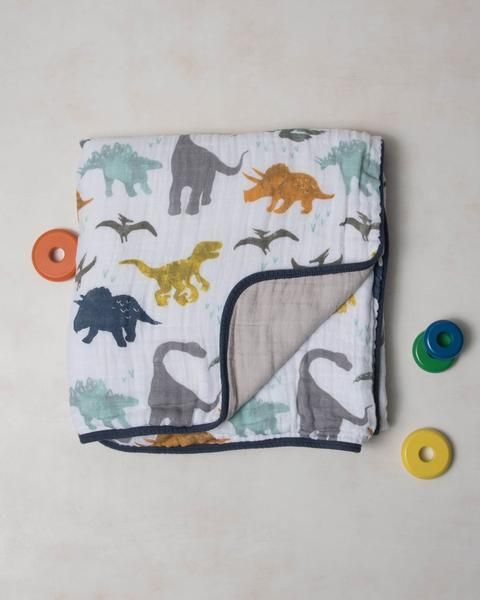 Cotton Muslin Quilt by Little Unicorn #dinosaurnursery
