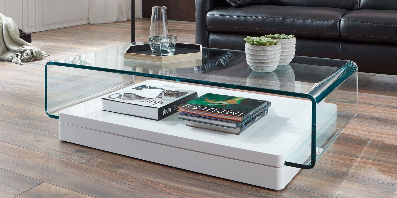 Designer Couchtisch Jura Glastisch Klarglas Comfort2home