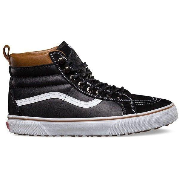 Vans Sk8-Hi MTE ($85) ❤ liked on Polyvore featuring men's fashion, men's  shoes, men's sneakers, black, mens black hi top sneakers, vans mens shoes,  mens ...