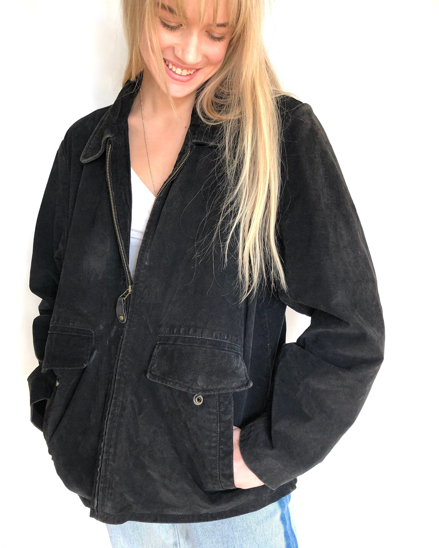 Vintage Coat Large Black Suede Leather Jacket Unisex