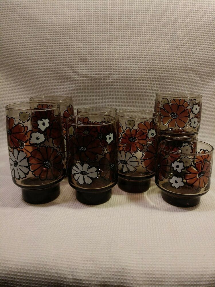 Lot Of 8 Mixed Size Vintage Libbey Camellia Tawny Brown