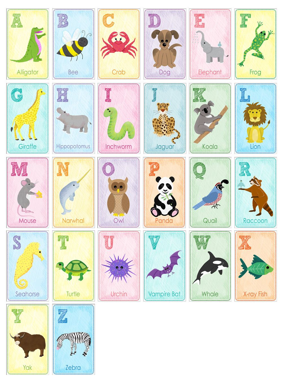 Alphabet animal nursery art kid wall art alphabet flash