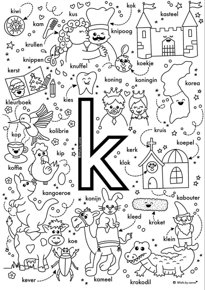 K Woorden Kleurplaat Letterherkenning Spelletjes Leren Lezen Lezen