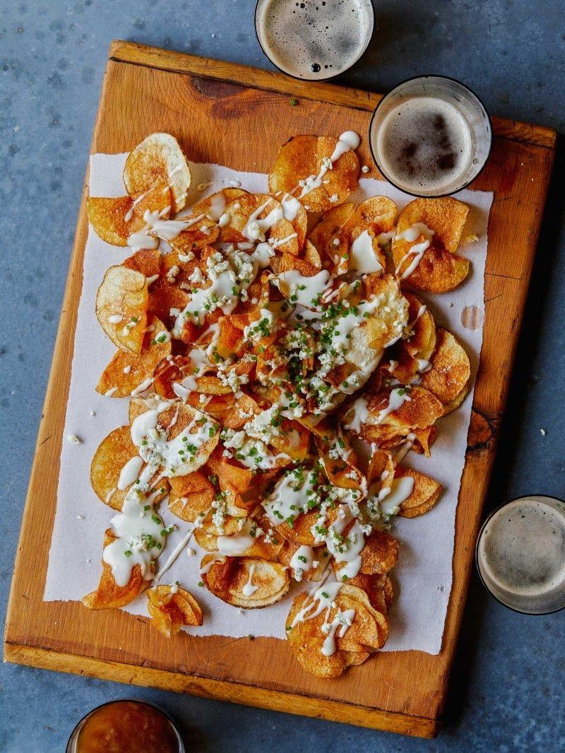 Homemade Potato Chips with Gorgonzola Cheese Sauce http://www.spoonforkbacon.com/2017/07/homemade-potato-chips-with-gorgonzola-cheese-sauce/