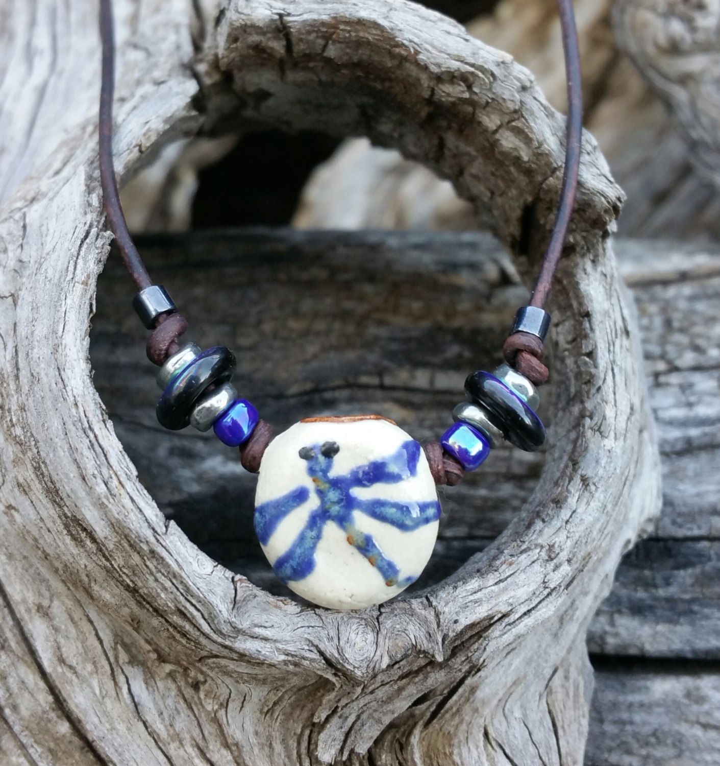 "Ceramic aromatherapy Necklace - ""Dragonfly Magic"" - Essential Oil diffuser - Dragonfly jewelry - Native Lore - Earth Jewelry - #391 by EarthnOils on Etsy"