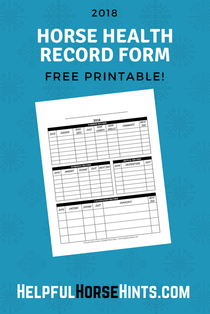 Horse Health Record Form FREE Printable (.PDF) Horse
