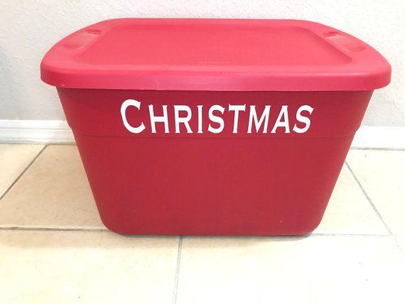 Christmas Storage Decal ~ Seasonal Storage Organization~ Holiday Bin