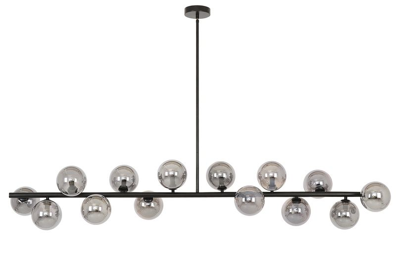 Lucci Décor Orion 14 Light Pendant In Black With Smoke