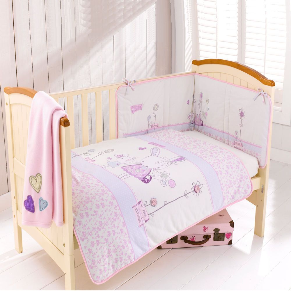 Baby girl cot bed bedding sets - New Clair De Lune Rebecca Rabbit Cot Cotbed 4 Piece Girls Bedding Set In Baby Nursery Bedding Nursery Bedding Sets Ebay