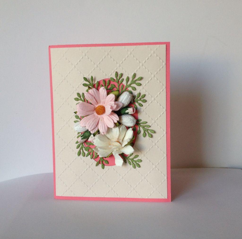 Cartão para o dia da mulher, com técnica de embossing