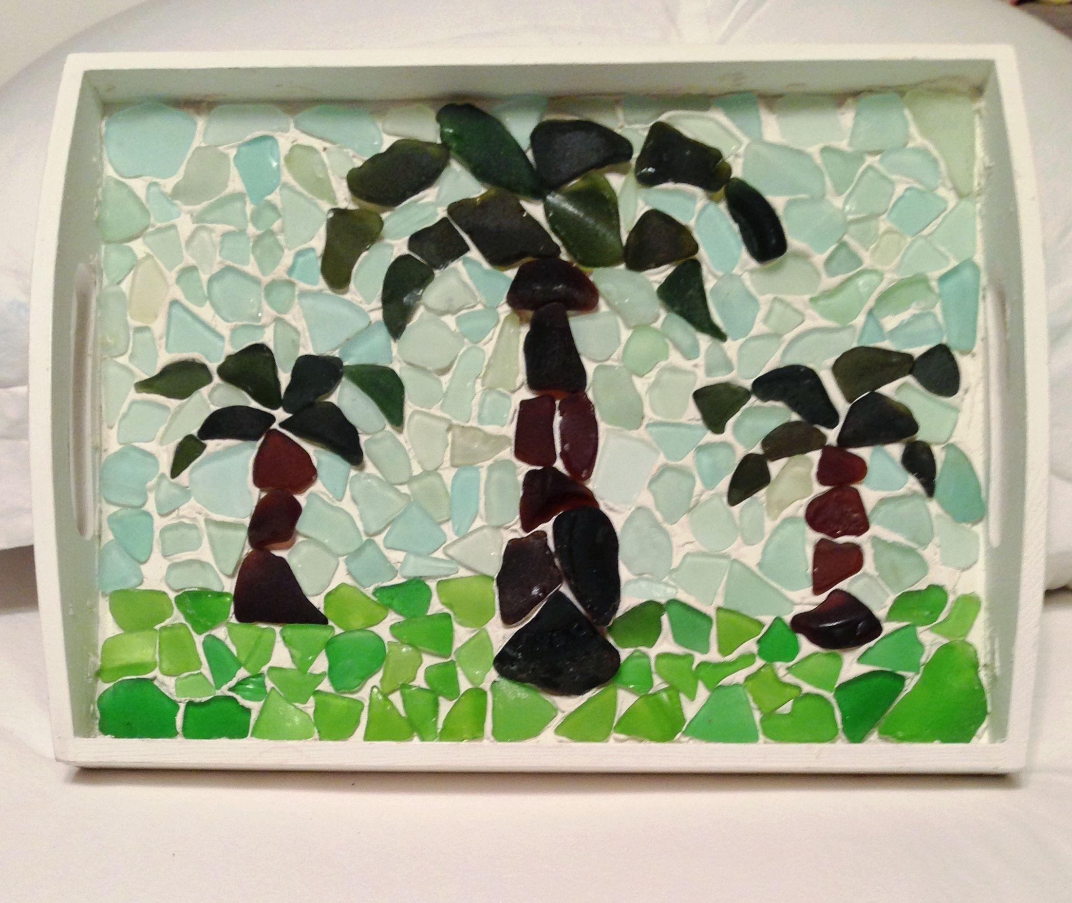 Palm tree mosaic tray I made with sea glass my family and I found ...