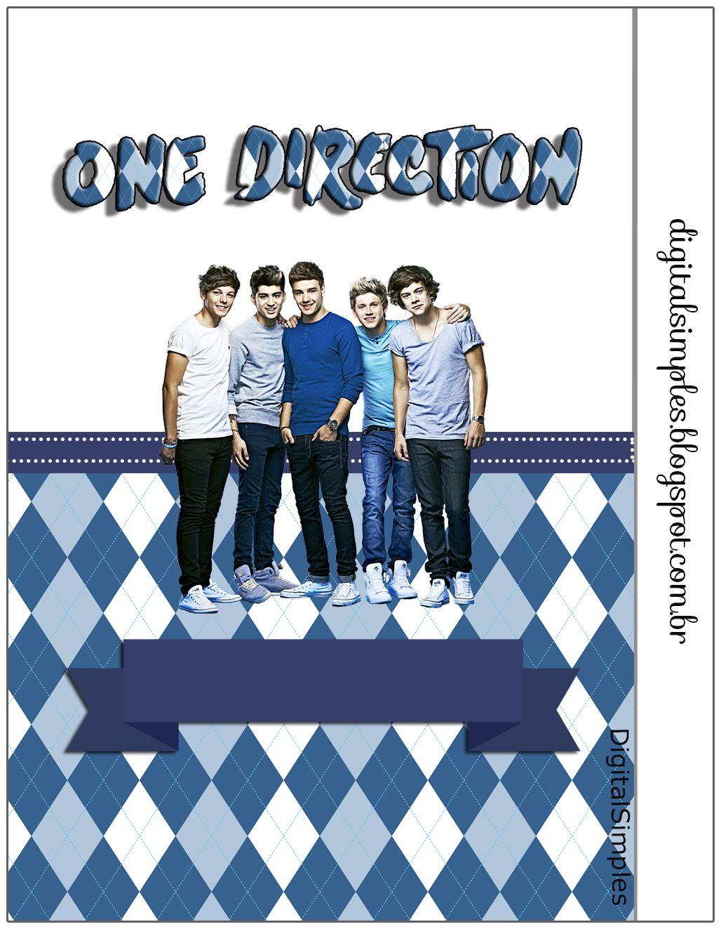 "Kit de Aniversário Digital Tema ""One Direction"" para Imprimir - Convites Digitais Simples"