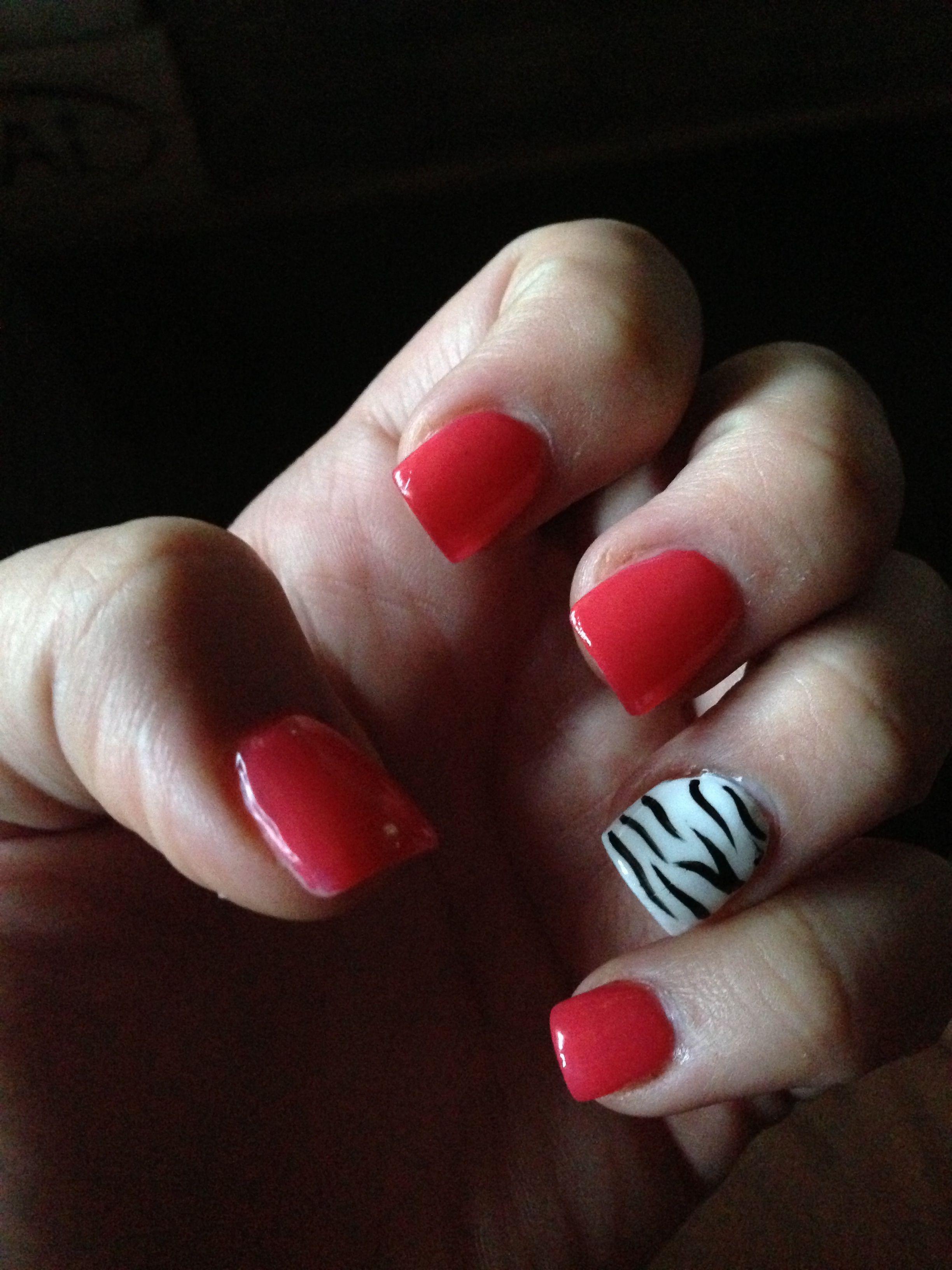 Dark orange/coral and zebra acrylic nails | Nails | Pinterest | Nail ...