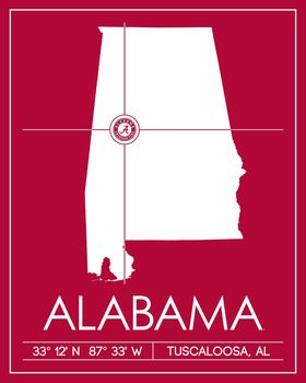 University of Alabama Map Wall Art Picture at Alabama ...