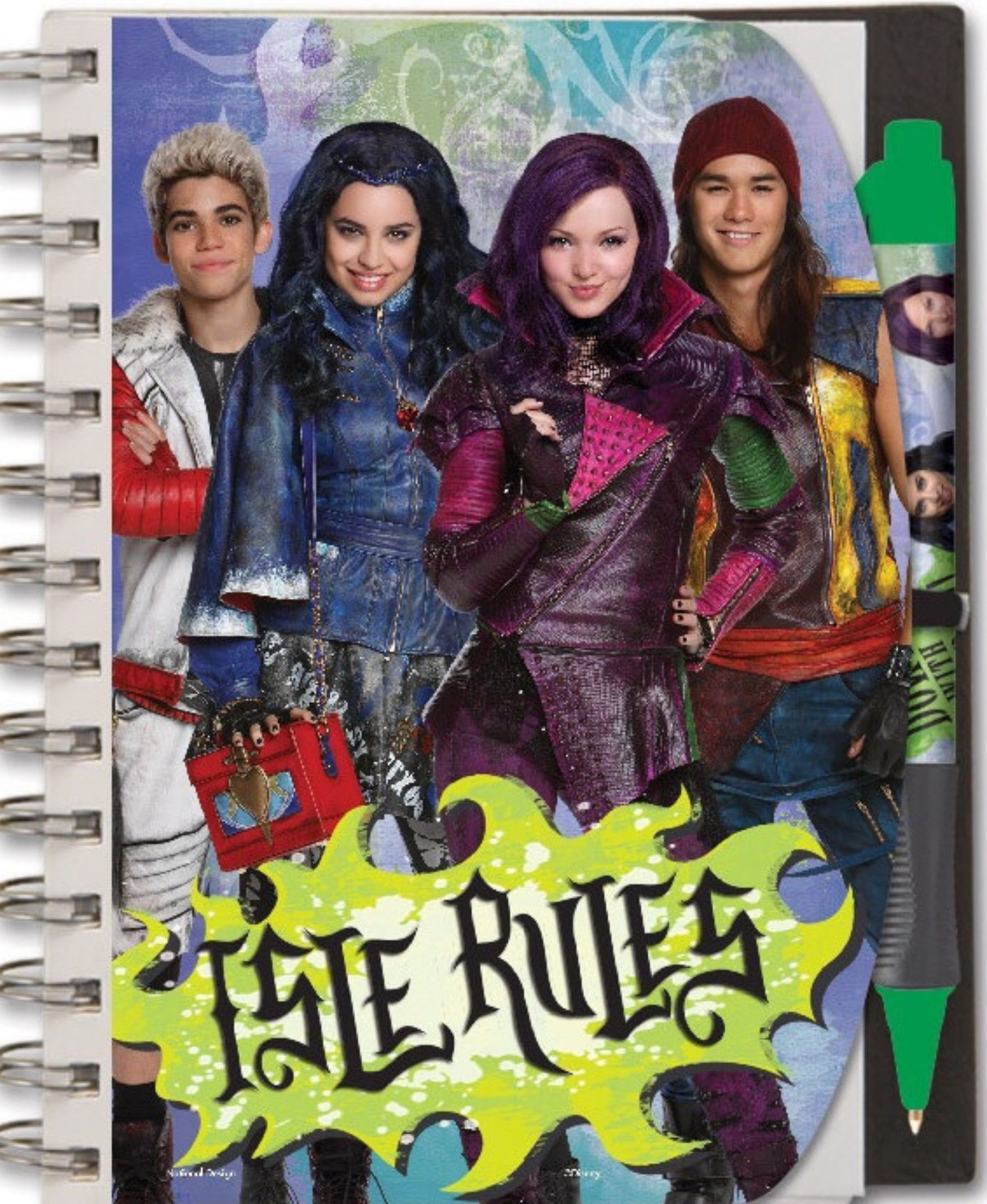 Descendants Mal Pen and Notebook Set With Carry Case - 5x7 Isle Rules With Mal Evie And More