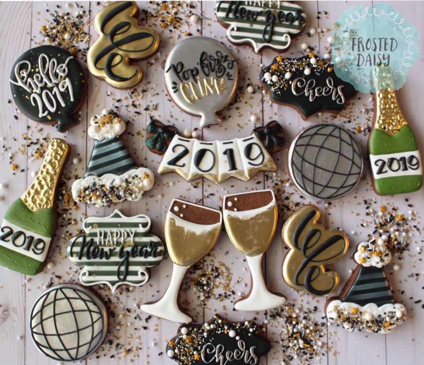 newyear newyearseveparty cookies thefrosteddaisy nye