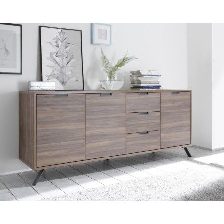 Amber Modern Sideboard In Oak Cognac Finish With Inlays In 2020