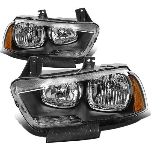 For 2011 To 2014 Dodge Charger Lx Pair Of Replacement Headlight Assembly Black Housing Amber Corner Headlamp 12 13 Replacement Headlights Headlight Assembly Dodge Charger
