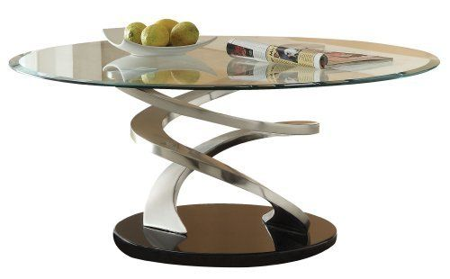 Acme Nia Glass Top Coffee Table Chrome Finish By ACME - 17 inch high coffee table