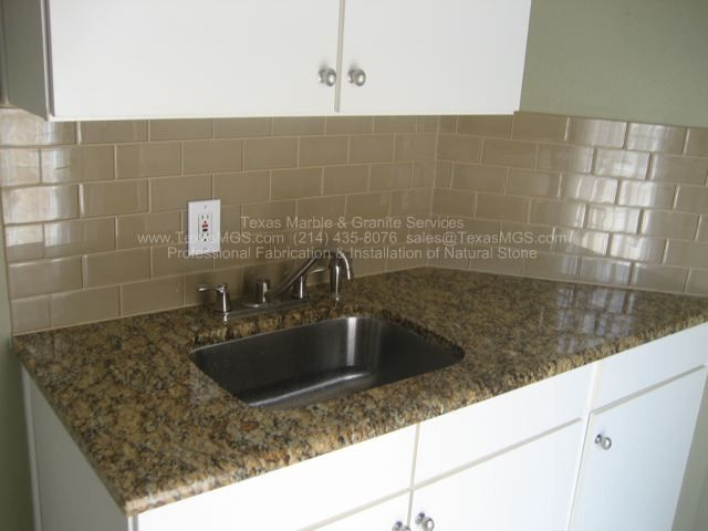 New Venetian Gold Backsplash Ideas Part - 50: Example Of New Venetian Gold Granite In White Kitchen With Subway Tile  Backsplash