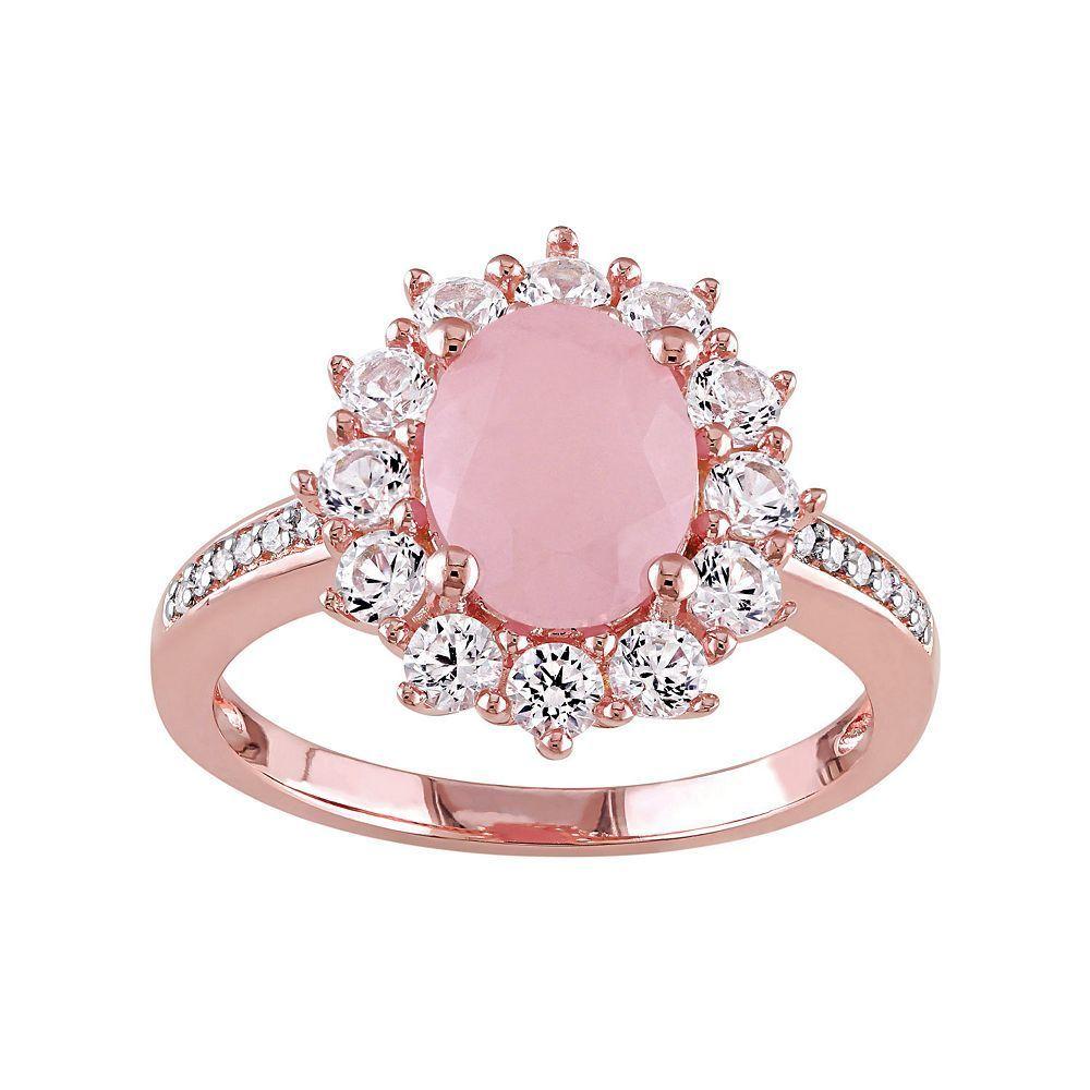Stella Grace Sterling Silver Pink Quartz, Lab-Created Sapphire ...