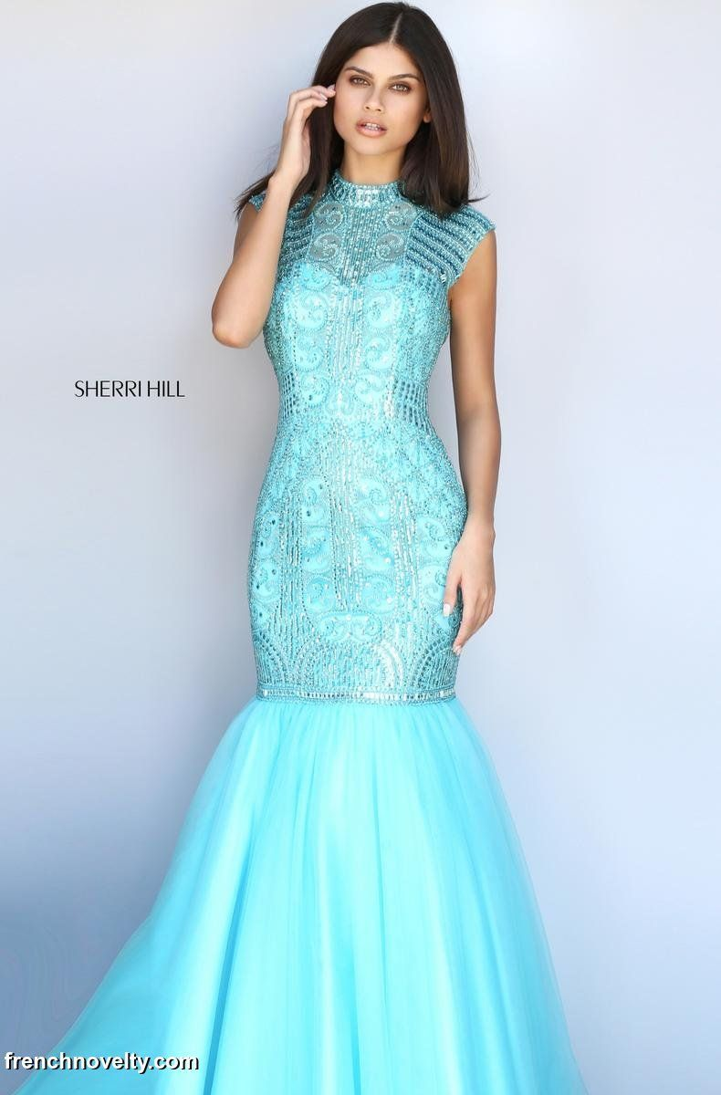 Sherri Hill 51174 is a cap sleeved, high neckline prom dress with ...
